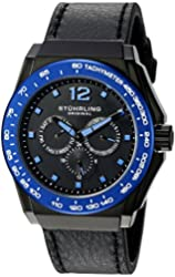 Stuhrling Original Men's 'Monaco' Quartz Stainless Steel and Black Leather Sport Watch (Model: 535.33U51)