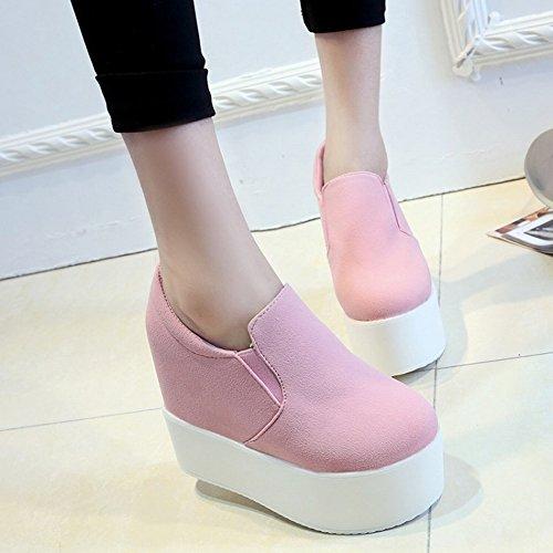 Pendiente con Los Zapatos de Las Mujeres a Prueba de Agua Zapatos Cómodos Sueltos Zapatos de Tacón Alto Fondo Plano Inferior , rosado , EUR36.5