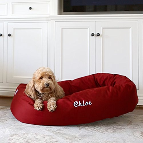 Personalized Majestic Pet Bagel Dog Bed - Machine Washable - Soft Comfortable Sleeping Mat - Durable Bedding Supportive Cushion Custom Embroidered - available replacement covers - Extra Large Red by Majestic Pet