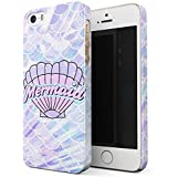 Glitbit Mermaid Seashell Paua Abalone Queen Princess Of The Ocean Sea Holographic Pastel Pink Purple Aesthetic Thin Design Durable Hard Shell Plastic Protective Case For Apple iPhone 5 / 5s / SE