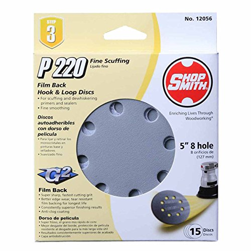 Shopsmith 12056 220 Grit Aluminum Oxide Sanding Discs (15 pack), 5