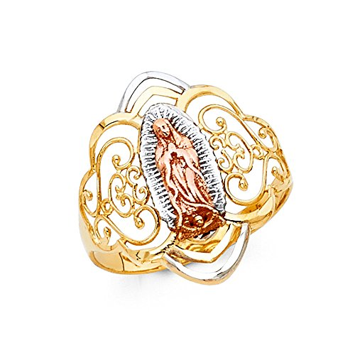 14k Yellow White Rose Gold Lady Guadalupe Ring Virgin Mary Filigree Band Diamond Cut Fancy 20MM, Size 6.5 14k Yellow White Rose