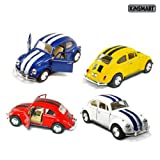 "Set of 4 Cars: 5"" Classic 1967 Volkswagen Beetle with Racing Stripes 1:32 Scale (Blue/Red/White/Yellow)"