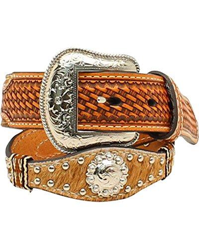 [해외]Nocona 남아용 송아지 헤어 웨스턴 스타일 스터드워크 콘초 벨트 / Nocona Boy`s Calf Hair Western Style Studwork Conchos Belt, Natural, 20