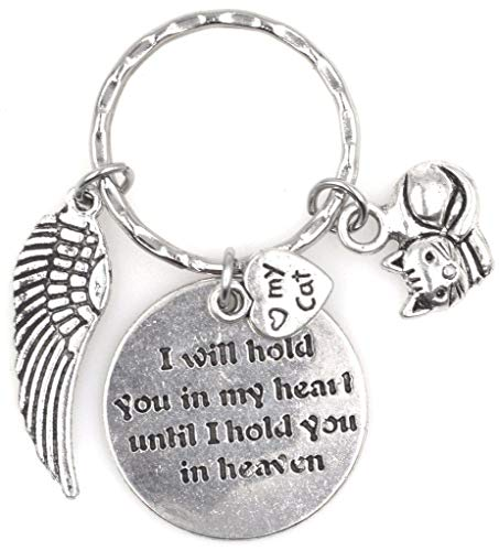 I Will Hold You in My Heart Until I Hold You in Heaven Angel Wing Pet Kitty I Love My Cat Keychain 114Q