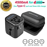 type c l plug adapter - Universal Power Adapter 4.5A 4 USB Charging Ports Type-C International Travel Adapter All in One Power Adapter AC Power Plug Adapter Wall Charger for Cell Phone Laptop By BONAKER