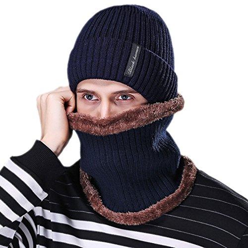 Honghu Gorras Con Bufanda y Gorros de punto Sombreros de Invierno Hombre con Suave Interior de Forro Polar Azul