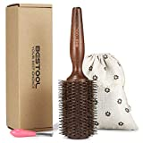 BESTOOL Round Brush, Boar Bristle Round Hair Brush with Large Wooden Barrel, Styling Brush for Women, Men's Wet/Dry Hair Blow Drying, Best for Long Thick Normal Hair Adding Volume and Shine Larger Image