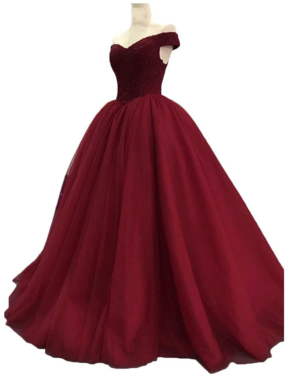 Burgundy Womens Off The Shoulder Prom Dresses Long 2019 Beaded Tulle A Line Evening Formal Gowns Wedding Party Dresses