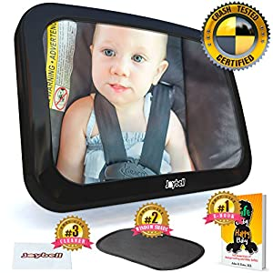 New for 2018, Safest Baby Car Mirror to View Rear Facing Infant in Backseat – Doctor Designed, Strong Clamp Attachment -- Crash Tested -- Easy To Install – Extra Large – Fully Adjustable