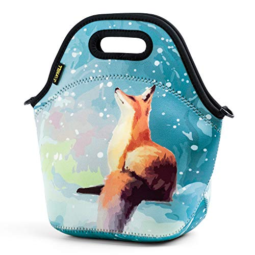 Neoprene Lunch Bag, Orange fox lunch bags for Women Kids Girls Men Teen Boys, Insulated Waterproof Lunch Tote Box for Work School Travel and Picnic ()