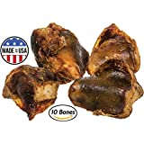 Knee Cap Bones for Dogs (10 Bones) Made in USA & Natural | Long Lasting Meaty Chews Made of Top Quality American Cattle | Single Ingredient Meat Treat, No Artificial Flavors | Supports Dental Health