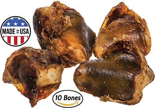 Knee Cap Bones for Dogs (10 Bones) Made in USA & Natural | Long Lasting Meaty Chews Made of Top Quality American Cattle | Single Ingredient Meat Treat, No Artificial - Choice Pork Top