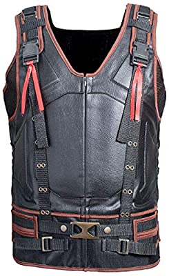 Mens Motorcycle Rider Armor Brown Real Leather Tactical Military Vest Jacket