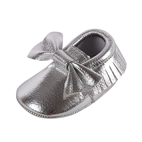 Weixinbuy Toddler Infant Baby Girls Soft Soled Bowknot PU Moccasins Crib Shoes