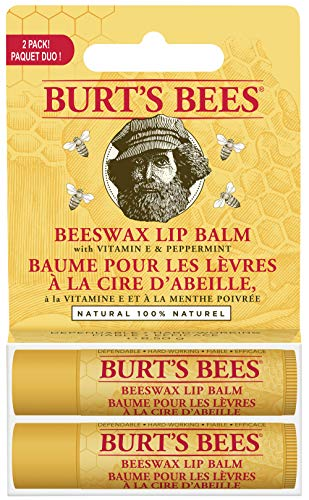 Burt's Bees 100% Natural Moisturizing Lip Balm, Original Beeswax with Vitamin E & Peppermint Oil, 2 Tubes
