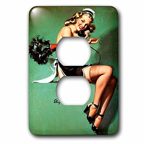 Florene - Retro Pinups - Print of Elvgren Pinup Maid Semi Nude - Light Switch Covers - 2 plug outlet cover (lsp_204074_6)