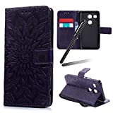 LG Nexus 5X Case,LG Nexus 5X Wallet Case,LG Nexus 5X Stand Case Girl,LG Nexus 5X Leather Cover,SKYMARS Sunflower Beautiful Art Painted Pattern Synthetic PU Leather Fold Wallet Pouch Case Wallet Flip Stand Credit Card ID Holders Protective Case Cover for LG Nexus 5X Sunflower Purple