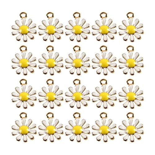 (Unknown 20 Pcs Gold Tone Daisy Flower Enameled Alloy Charm Necklace Pendants Jewelry Crafts Making DIY Creation Ideas)