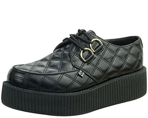 T.U.K. Shoes A8828 Unisex-Adult Creepers, Black Quilted Vegan Viva Mondo Creepers - US: Mens 6/Womens 8 Tuk Creeper Shoes