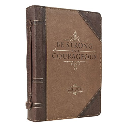 "Antique Book ""Be Strong & Courageous"" Bible / Book Cover - Joshua 1:9 (Large)"
