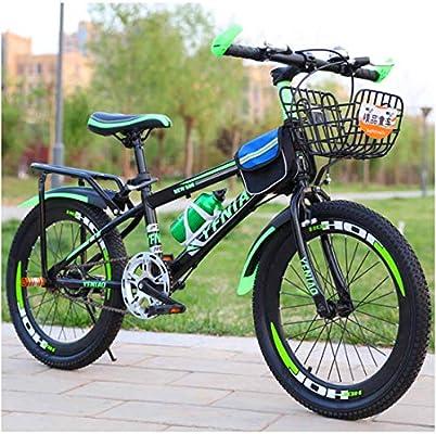 Bicicleta De Montaña para Niños De 18 (20, 22) Pulgadas Marco De Acero De Alto Carbono Adecuado para Niños De 8 Años En Adelante,Green,20inch: Amazon.es: Deportes y aire libre