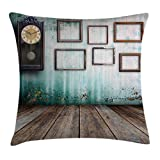 Ambesonne Clock Decor Throw Pillow Cushion Cover, A Vintage Clock and Empty Picture Frames in an Old Room Wooden Backdrop, Decorative Square Accent Pillow Case, 18 X 18 inches, Green and Brown