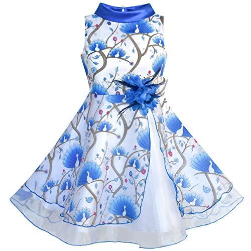 Sunny Fashion Flower Girls Dress Blue Peacock Wedding Bridesmaid Size 8 ()