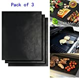BBQ Grill Mat by AIQI, Fiberglass Fabric Non-stick Reusable Grilling Accessories, Works on Gas, Charcoal, Ovens, Electric Grill and More (16 x 13 inch, Pack of 3)