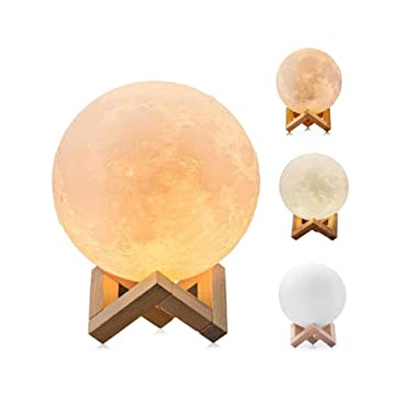 Lawnite Moon Lamp,Dimmable Remote & Touch Control USB Charging,3 Colors (White,Warm White,Yellow) 3D Moon Lamp 5.9  Home Decor with Wooden Stand Best Gifts