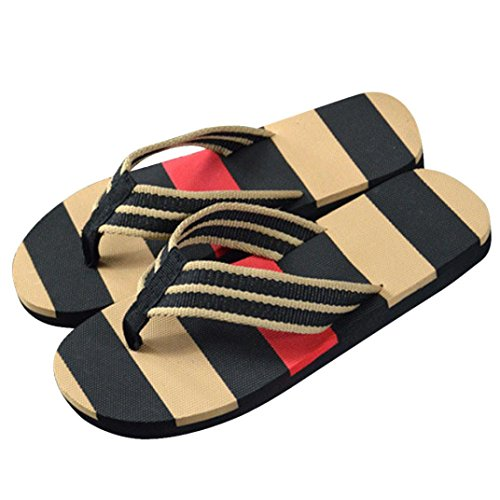 Han Shi Men Flip Flops, Summer Fashion Stripe Shoes Soft Non Slip Sandals Slipper (Black, 7)