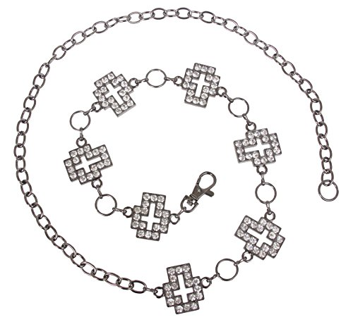 Womens Rhinestone Cross Ornaments Chain Belt, Antique Silver | O/S - 42 End To End ()
