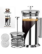 Cafe du Chateau French Press Coffee Maker - Heat Resistant Borosilicate Stainless Steel Coffee Press with 4 Level Filter - Brew Coffee and Tea - Large 34 Oz Glass Carafe Coffee Presser