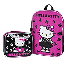 """Sanrio Hello Kitty 15"""" Backpack + Insulated Lunch Bag Official Licensed"""