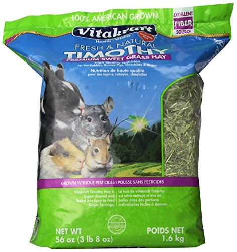 - Vitakraft Timothy Hay, Premium Sweet Grass Hay, 100% American Grown, 56 Ounce Resealable Bag