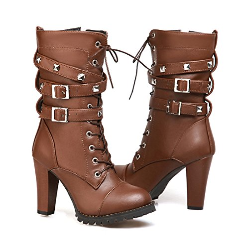 Mostrin Women Motorcycle High Heels Punk Buckle Rivet Strap Combat Military Mid Calf Boots Brown