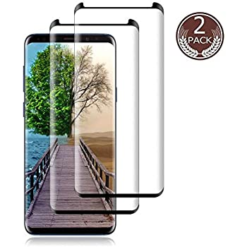 Dot Matrix with Easy Installation Tray 3D Curved Tempered Glass LasGame Glass Screen Protector for Samsung Galaxy S8, Case Friendly 2 Pack