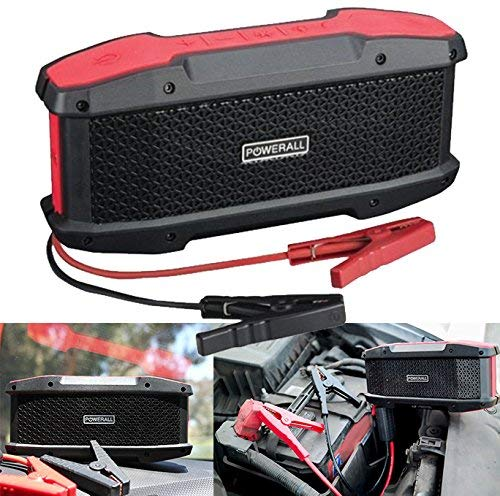 PowerAll PBJS16000-WS JOURNEY 16,000 mAh 600A Portable Lithium Jump Starter, Power Bank and Bluetooth Speaker (Powerall Pbjs12000r Rosso Portable Car Jump Starter)