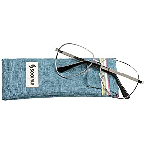 SOOLALA Unisex Fashion Alloy Aviator Reader Custom Reading Glasses with Pouch, Silver, 1.25x
