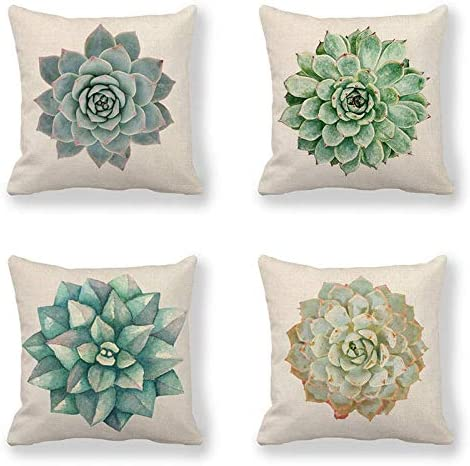 Amazon Com Throw Pillow Cover 18 X 18 Inch Succulent Plants Linen Cushion Case For Sofa Couch Set Of 4 Home Kitchen