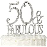 Ella Celebration 50 & Fabulous Cake Topper Silver for 50th Birthday Party Decoration Supplies (50 & Fabulous Silver)