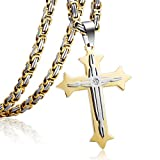 Trendsmax Mens Chain Boys Stainless Steel Cross Pendant Necklace 5mm Byzantine Necklace 22-30inch
