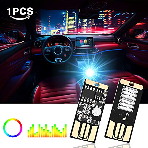 WEXZN Car Atmosphere lights USB,Car 7 Colors Changing USB Charging Led Music Sound Control Decorative Lights Car Interior Atmosphere Lights (1pcs) (Car Lights Sound)