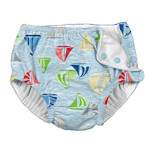 i play. Baby Boys Snap Reusable Absorbent Swimsuit Diaper, Light Blue Sailboat Sea, 24 Months