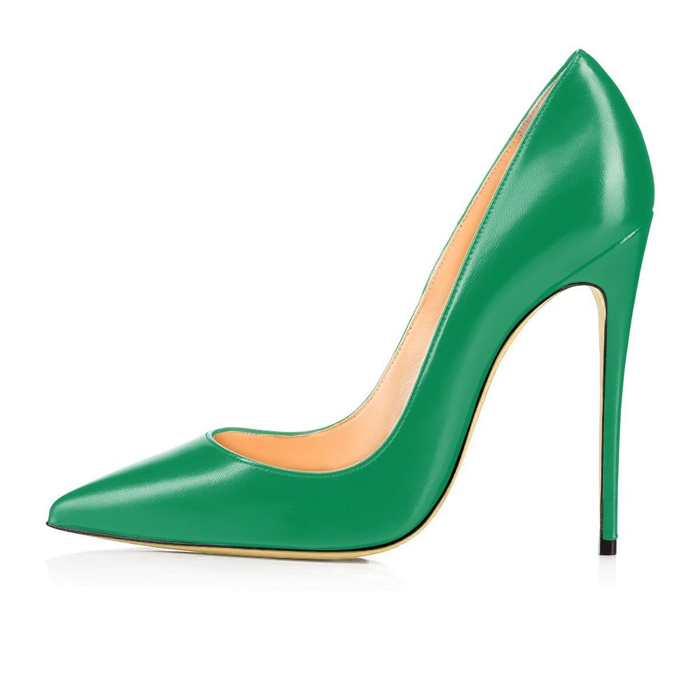 Modemoven Women's Pointy Toe High Heels Slip On Stilettos Large Size Wedding Party Evening Pumps Shoes B073Y4LFW4 8 B(M) US|Green Faux Leather