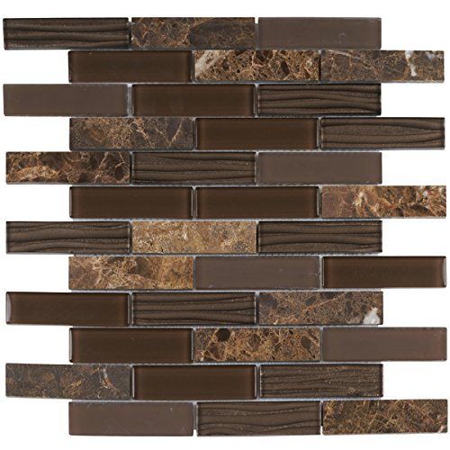 Brown Mosaic Tile Flooring - Modket TDH61MO Emperador Dark Brown Marble Stone Mosaic Tile, Wave Cold Spray, Glass Blended Brick Joint Pattern Backsplash