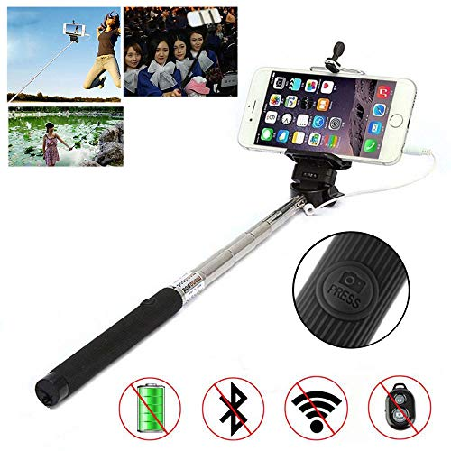 Selfie Stick for Smartphones, Wired Handhled Monopod, Self-Portrait Monopod Pole, Extendable Selfie Stick with Adjustable Holder for HTC Butterfly 3