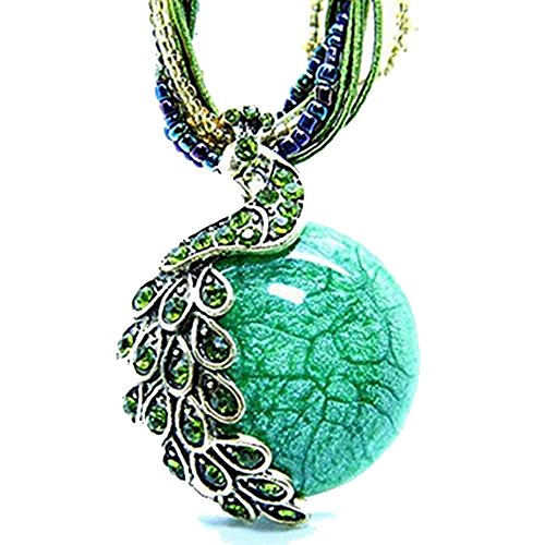 zonman Mom Gifts Handmade Retro Necklace with Opal and Peacock Pendant Bohemian Style, Wonderful Women Jewelry Gifts (A6)