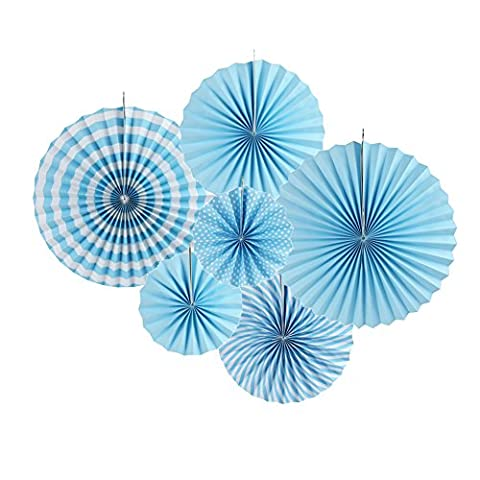 SUNBEAUTY Set of 6 Colorful Paper Fans Round Wheel Pattern Design for Party Event Home Decoration - Blue Little Fan