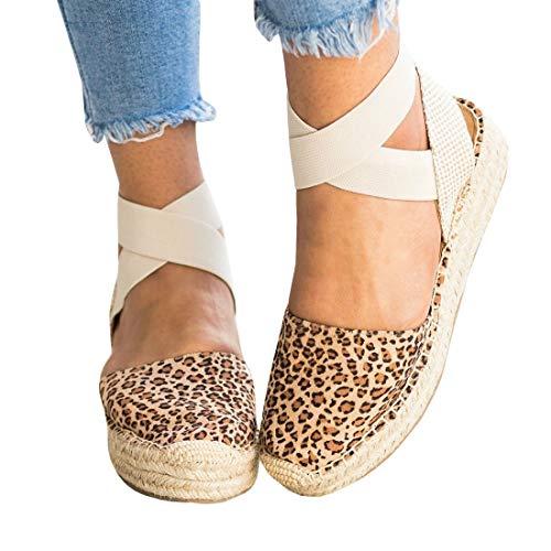 (Womens Strappy Slingback Espadrilles Platform Mid Wedge Sandal Cap Toe Elastic Band Criss Cross Summer Shoes)